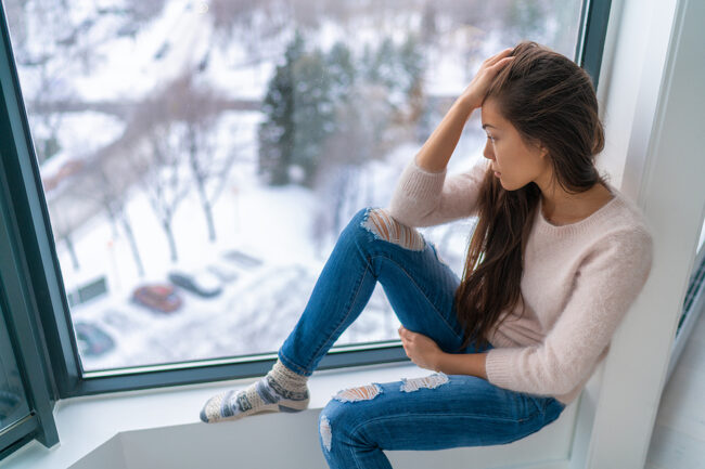 woman depressed or anxiety attack