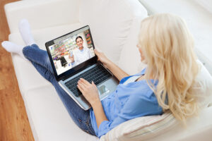 woman with online doctor visit